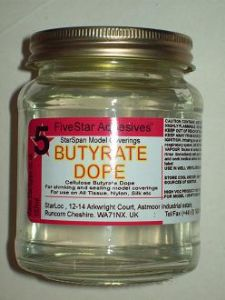 cellulose dope 157ml jar for model covering,StarSpan brand butyrate, clear dope formula made with cellulose butyrate, ideal for use with all types of model construction when covering with any type of model covering